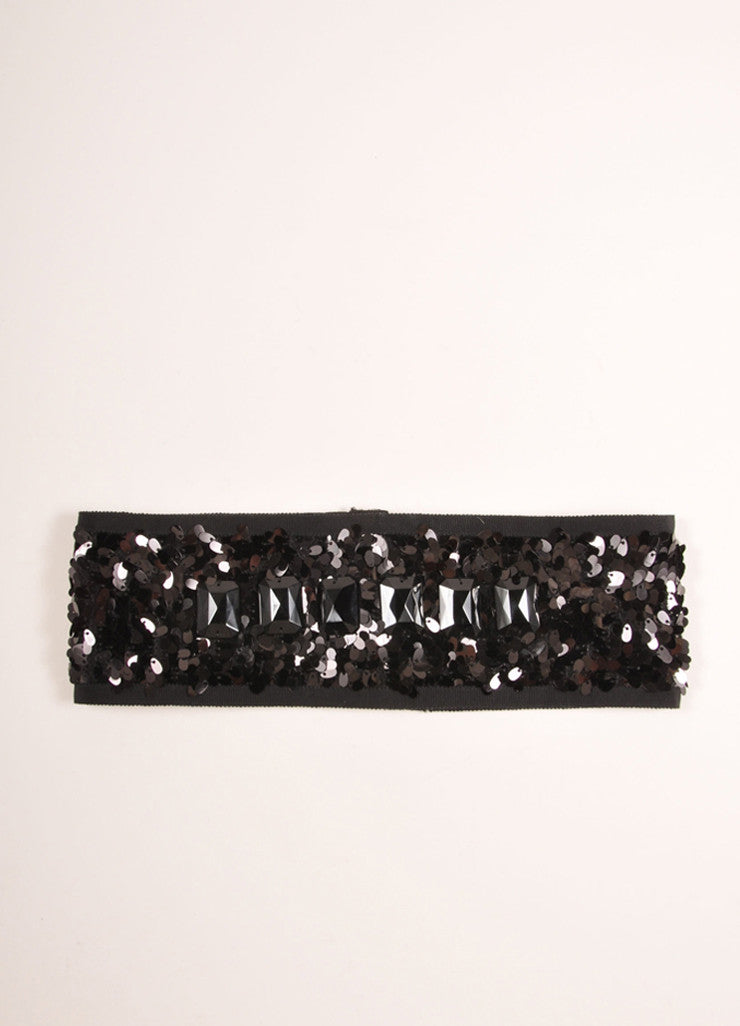 Philosphy di Alberta Ferretti Black Stretchy Sequin Jewel Embellished Belt Frontview