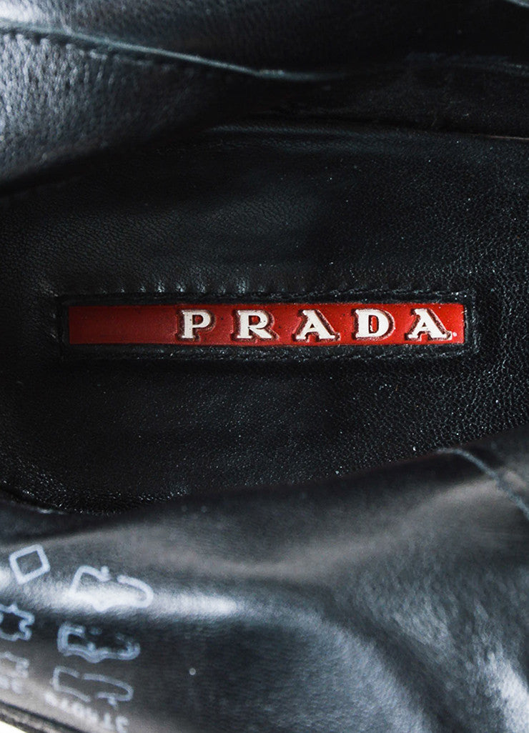 å´?ÌÜPrada Sport Black Treated Leather Block Heel Lug Sole Zip Ankle Boots Brand