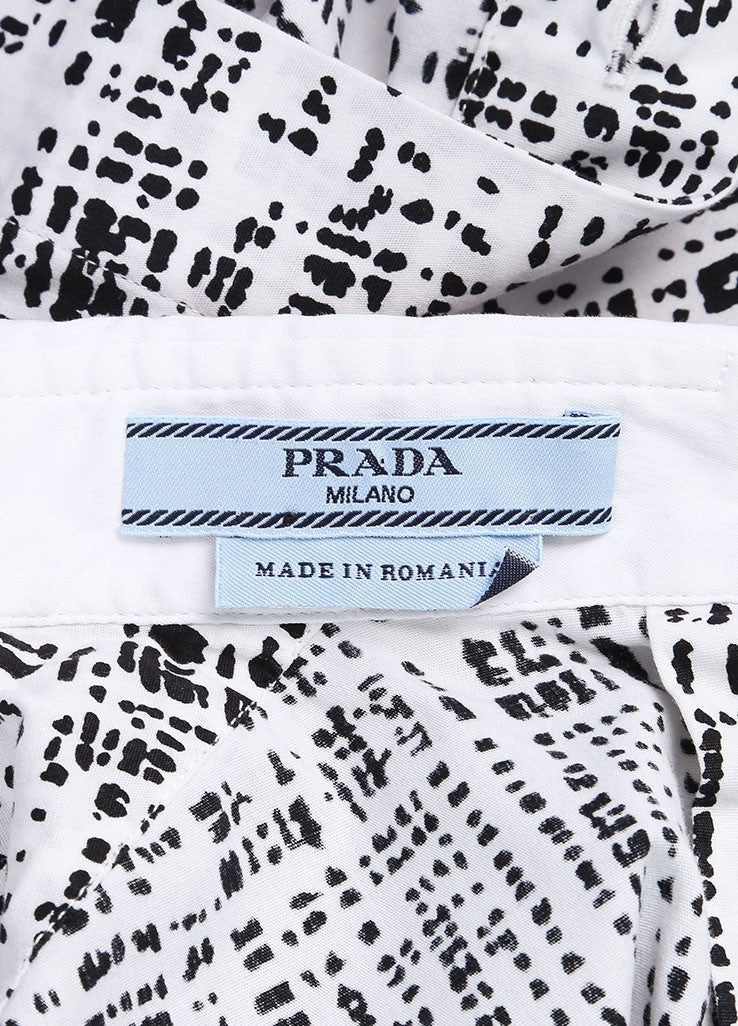 Prada White and Black Woven Graphic Print Sleeveless Top Brand