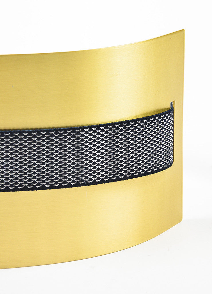 Roksanda Navy and Brushed Gold Toned Brass Wide Interwoven Plate Waist Belt Detail