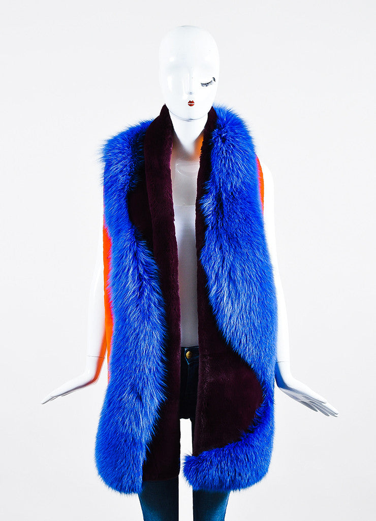 "Blue, Orange, and Burgundy Roksanda Fox Rabbit Fur ""Lathan"" Scarf Frontview 2"