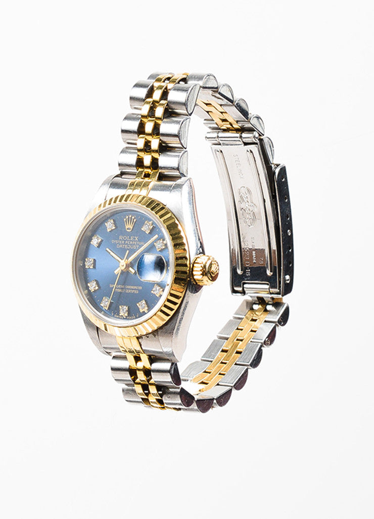 "Rolex 18K Gold, Stainless Steel, and Diamond ""Oyster Perpetual Datejust"" Automatic Watch Sideview"