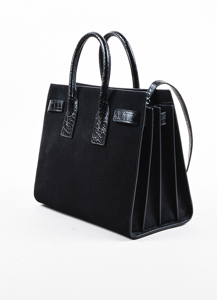 "Black Saint Laurent Suede Embossed Leather Small ""Sac de Jour"" Tote Back"