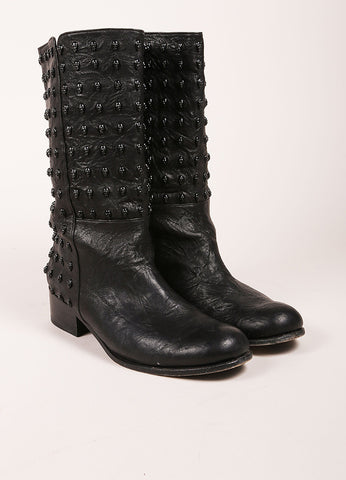Thomas Wylde Black Studded Skull Leather Boots Frontview