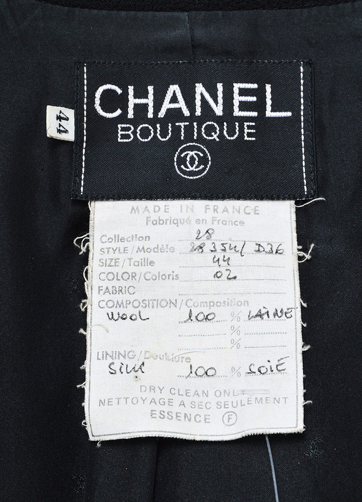 Black Wool Chanel Patent Leather Long Tailored Jacket Brand