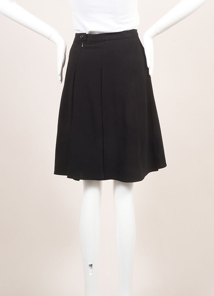 Chanel Black Pleated Wool Knee Length Skirt Backview