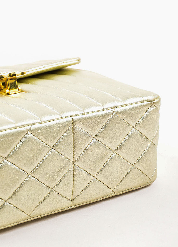 "Chanel Metallic Gold Leather Vertical Quilted ""Kelly Flap"" Handbag Bottom View"