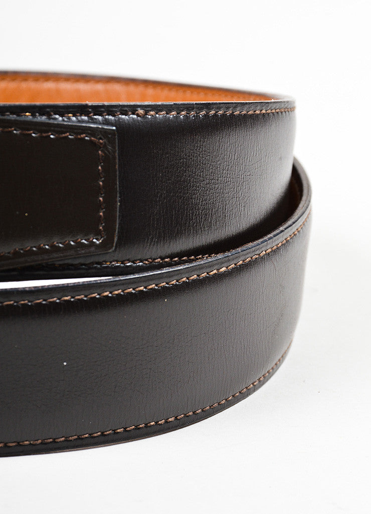 Men's Hermes Brown Leather Gold Toned Buckle Belt Detail 2