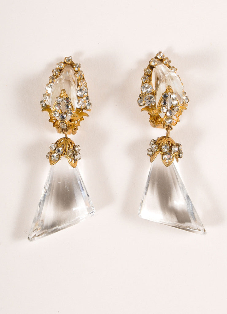 Miriam Haskell Gold Toned and Clear Lucite Drop and Rhinestone Earrings Frontview