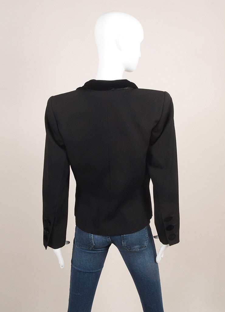 Yves Saint Laurent Black Velvet Collar Long Sleeve Wool Blazer Jacket Backview