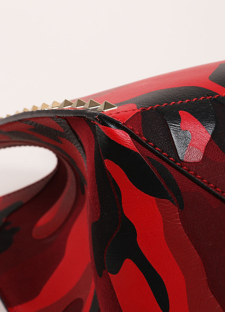 "Valentino Red and Black Leather and Canvas Camo Medium Soft ""Rockstud"" Tote Bag  Detail"