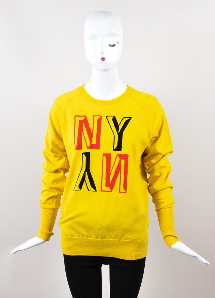 "Yellow, Black, and Red Venerta ""NY"" Long Sleeve Sweatshirt Sweater Frontview"