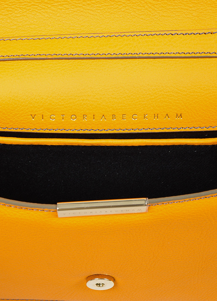 Orange Victoria Beckham Leather Mini Chain Satchel Bag Brand