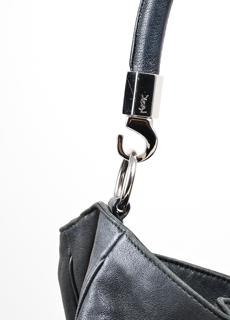 "Black Leather Yves Saint Laurent ""Roady"" Hobo Bag Detail 2"