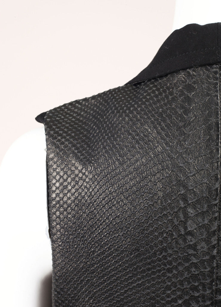 Yigal Azouel Black Snakeskin Embossed Shawl Collar Lamb Leather Vest Detail