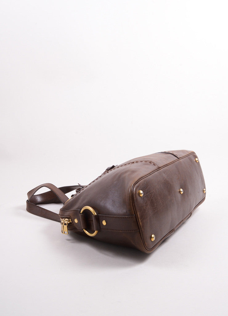 "Yves Saint Laurent Brown Leather ""Muse"" Shoulder Bag Bottom View"