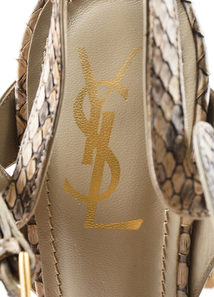 "Tan and Taupe Yves Saint Laurent Python Leather ""Tribute"" Sandal Heels Brand"