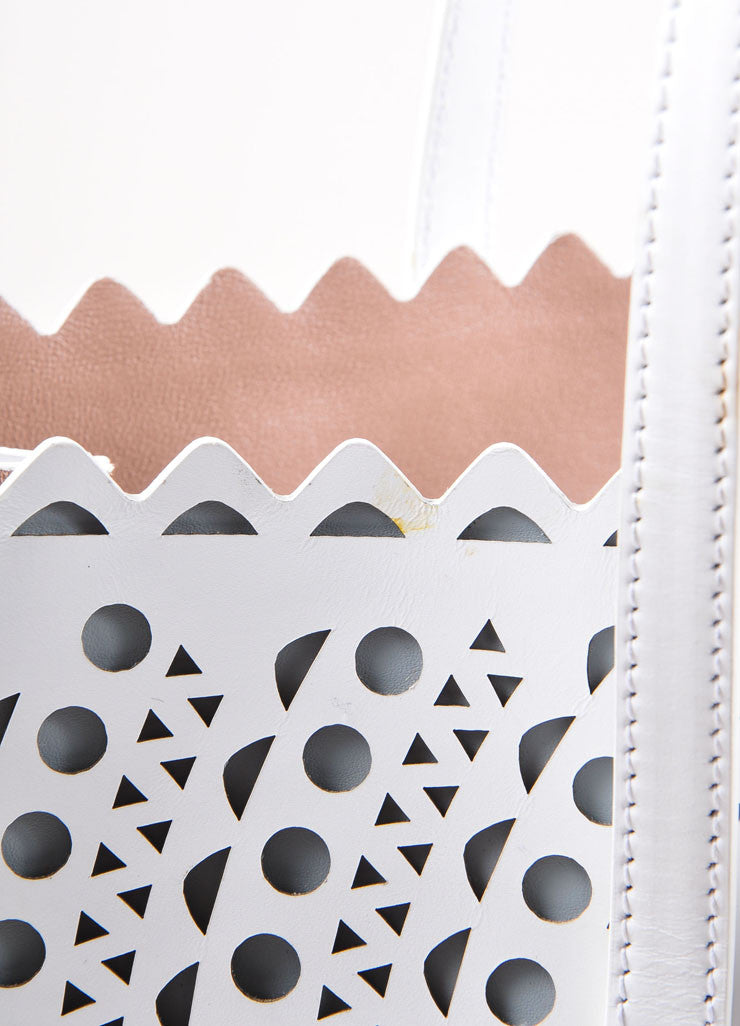 "Alaia White Laser Cut Perforated Leather ""New Vienne"" Shopper Tote Bag Detail 3"