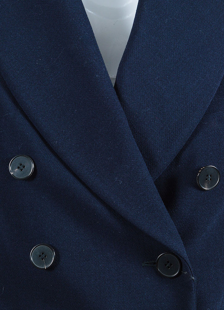 Navy Alexander McQueen Stretch Wool Double Breasted Blazer Detail