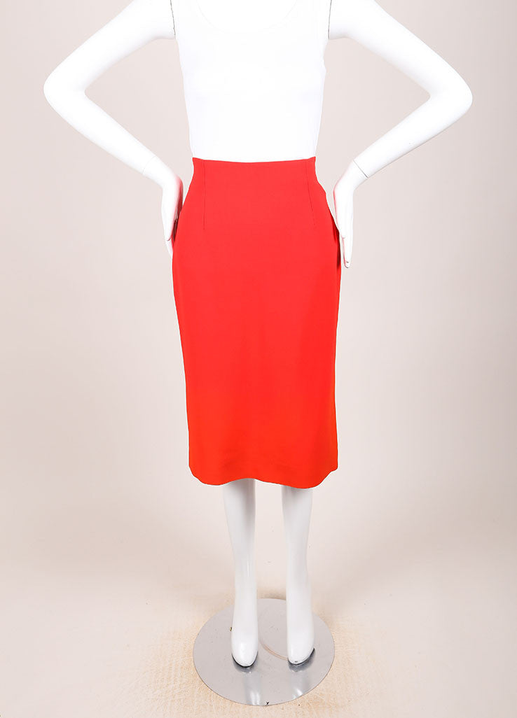 Alexander McQueen New With Tags Red Crepe Ombre Pencil Skirt Frontview