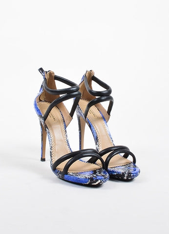 Aquazzura Black, Blue, and White Snakeskin Strappy Sandal Heels Frontview