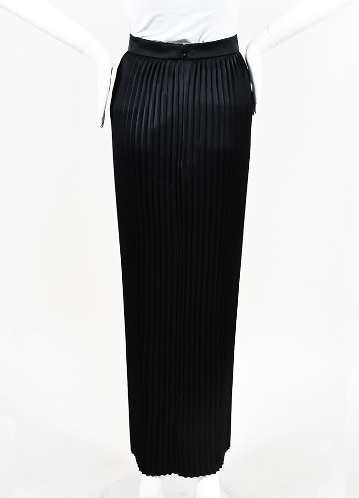 Balmain Black Satin Accordion Pleated Maxi Skirt Backview