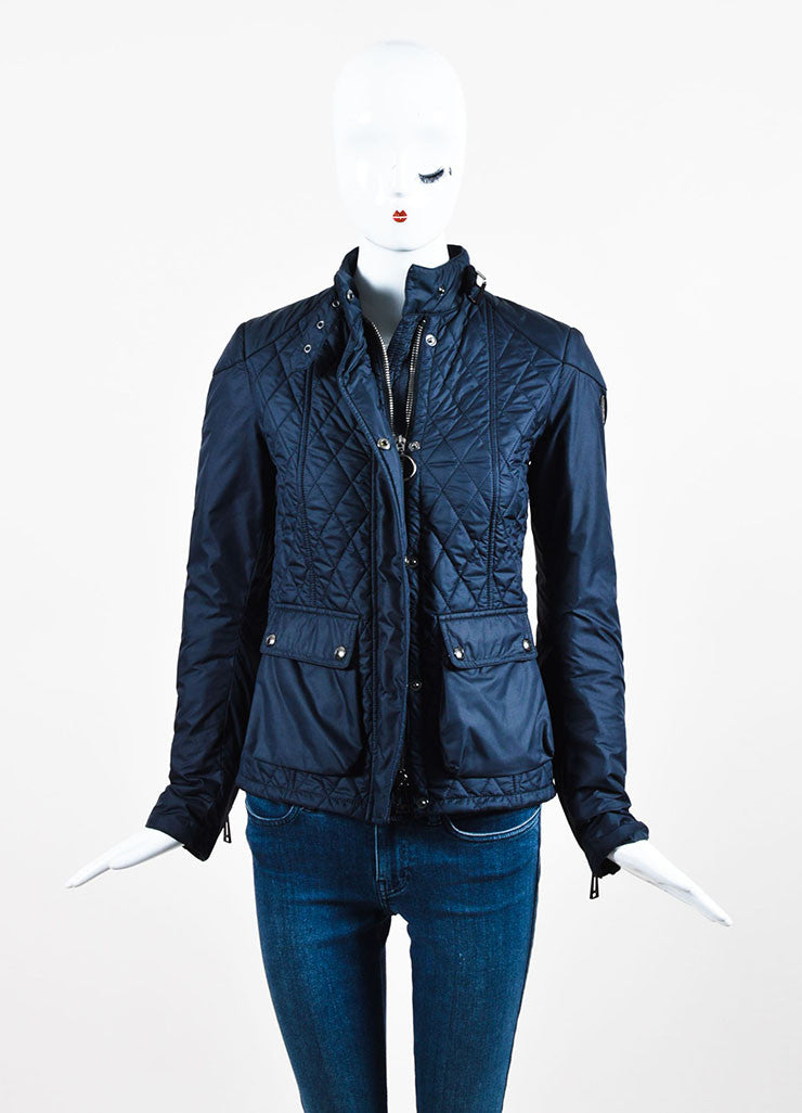 "Belstaff Navy Blue Nylon Quilted Zipped ""Aynsley"" Jacket Frontview 2"