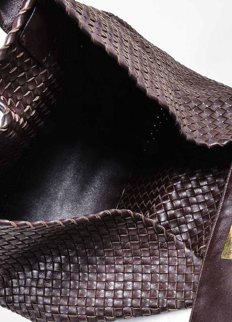 "Brown Bottega Veneta Woven Leather ""Medium Cabat"" Tote Interior"