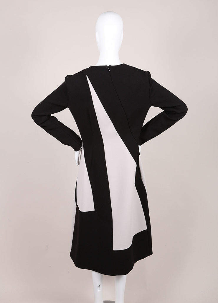 Bottega Veneta New With Tags Black and Cream Stripe Panel Long Sleeve Crepe Dress Backview