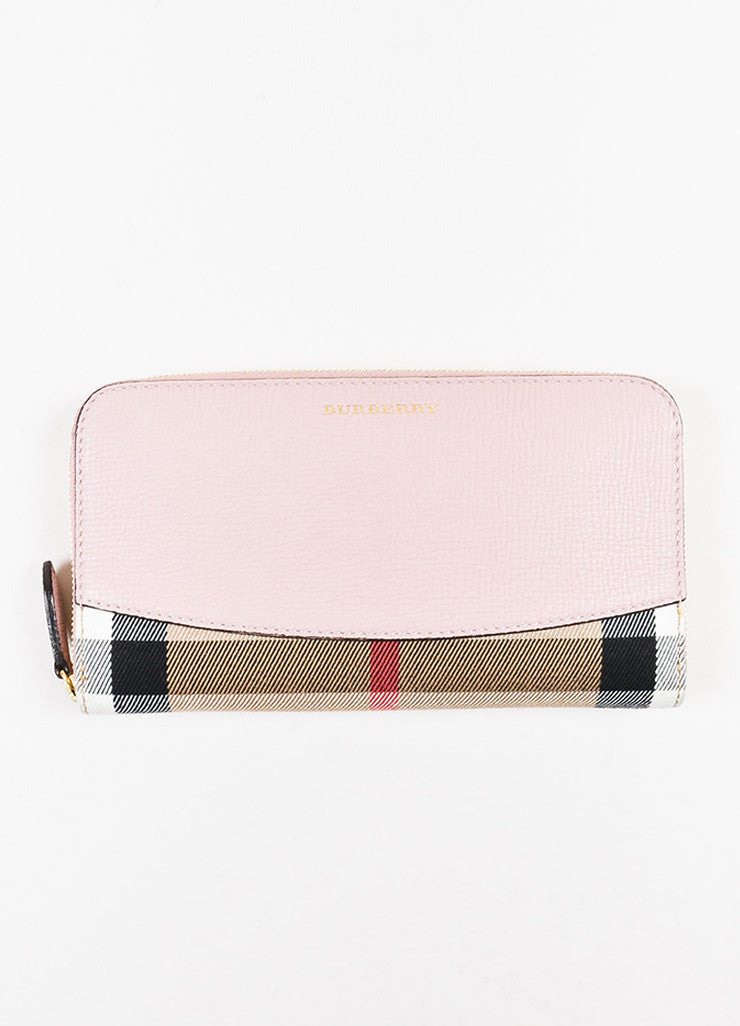 "Burberry Pink and Multicolor Leather Plaid ""Elmore House Check Derby"" Wallet frontview"