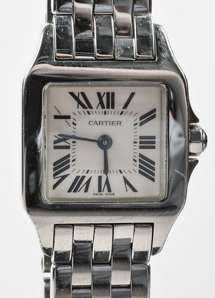 "Stainless Steel Cartier ""Santos Demoiselle"" Quartz Bracelet Watch Detail"