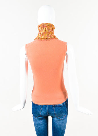 Chanel 01A Light Coral Yellow Pink Cashmere Turtleneck Sleeveless Top Back