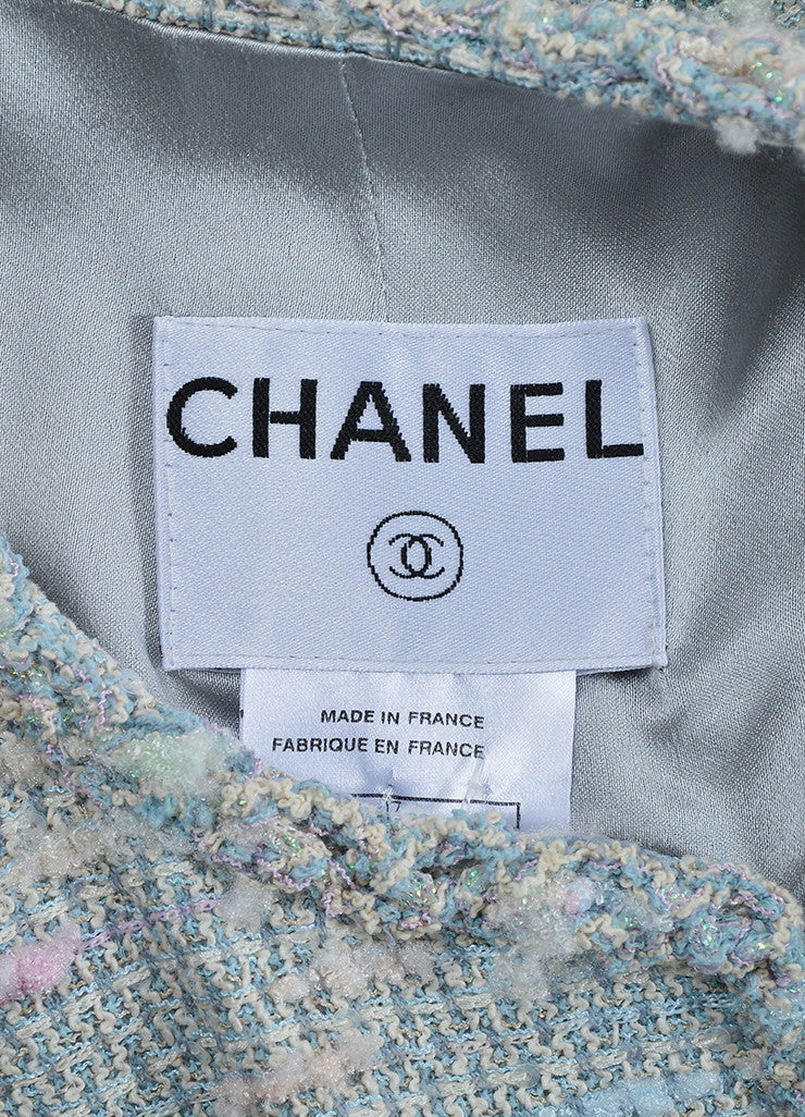 Pastel Blue and Multicolor Chanel Sequin Boucle Open Jacket Brand