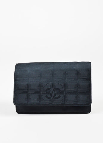 Chanel Black Jacquard 'CC' Flap Wallet On Chain Bag Frontview