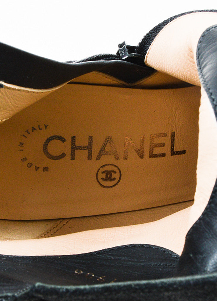 Black Chanel Coated Leather Cap Toe Ankle Boots Brand
