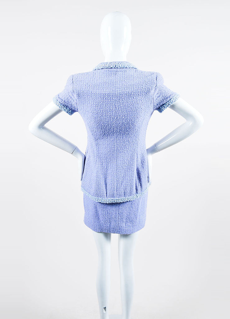 Periwinkle Metallic Chanel Tweed Sequin Trim Short Sleeve Skirt Suit Backview