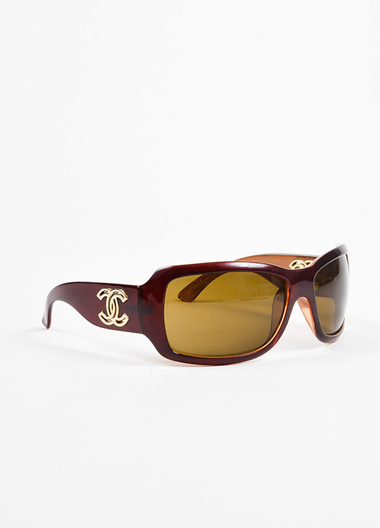 Chanel Brown and Gold Toned 'CC' Logo Cut Out Sunglasses Sideview