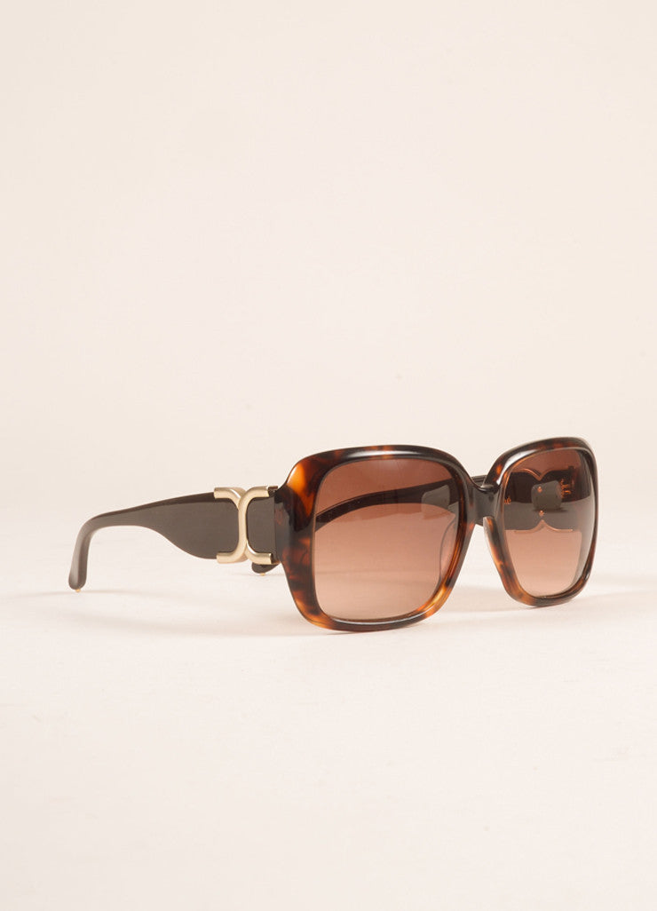 "Chloe Brown Tortoiseshell Plastic ""CL 2239"" Square Sunglasses Sideview"