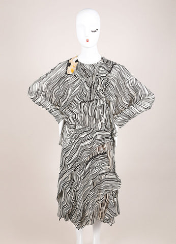 Chloe New With Tags Black and Cream Silk Wavy Stripe Ruffle Dress Frontview
