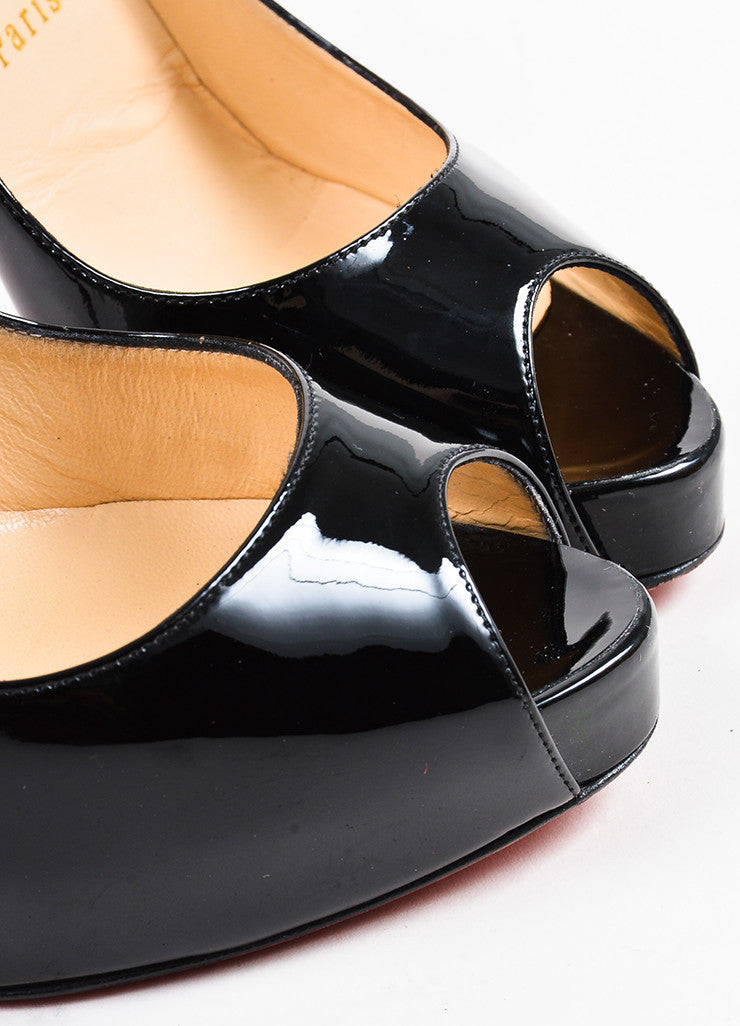"Christian Louboutin Black Patent Leather ""New Very Prive 120"" Pumps Detail"