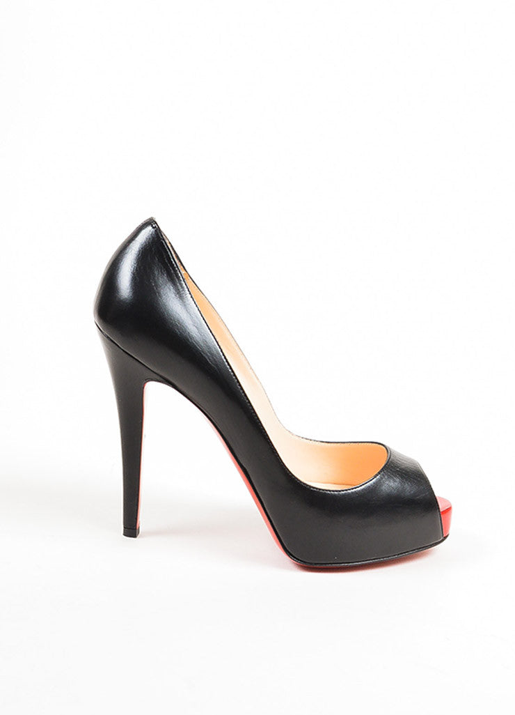 "Christian Louboutin Black and Red Leather Peep Toe ""Very Prive"" Pumps Sideview"