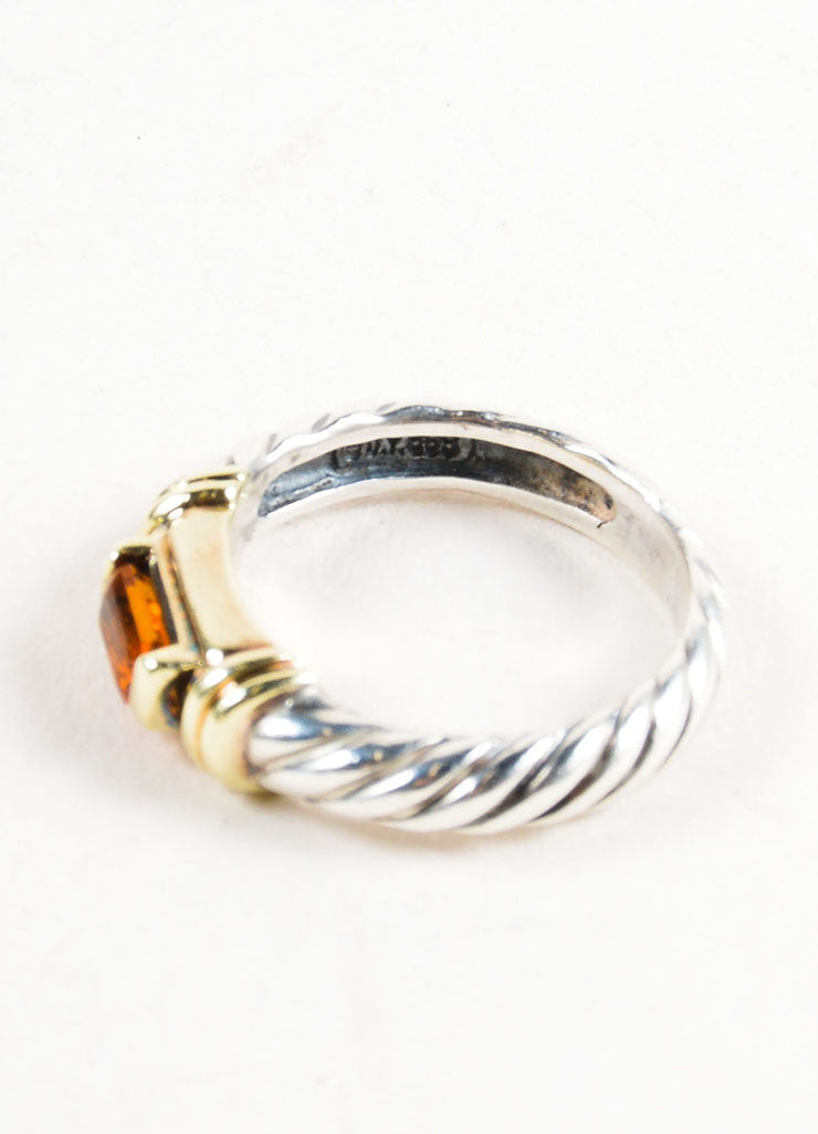 Sterling Silver, 14K Gold, and Citrine Embellished David Yurman Cable Ring Detail