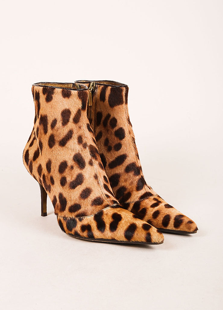 Dolce & Gabbana  Multi Brown Cheetah Print Pony Hair Pointed Toe Ankle Boots Frontview