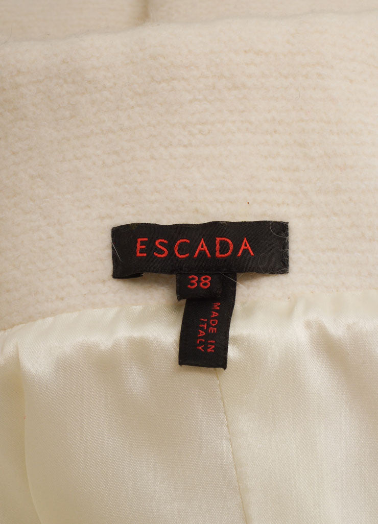 Escada Cream Wool Oversized Collar Bell Sleeve Belted Coat Brand