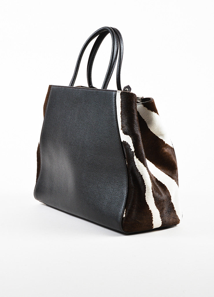 "Fendi Black, Brown, and White Leather Pony Hair ""2 Jours"" Handbag Sideview"
