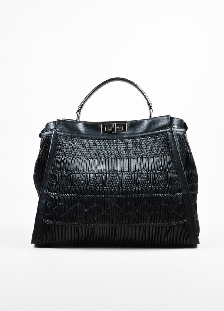 "Fendi Black Pleated Leather Multi Handle ""Large Peekaboo"" Tote Bag Frontview"