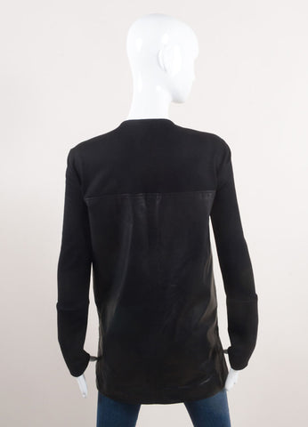 Helmut Lang New With Tags Black Leather and Wool Long Sleeve V-Neck Top Backview