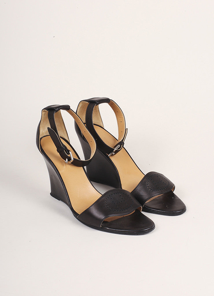 "Hermes Dark Brown Leather ""H"" Wedge Sandals Frontview"