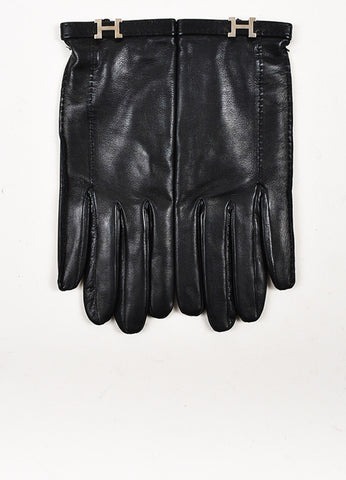 "Hermes Black Lambskin Leather Silver Toned ""H"" Gloves Frontview"