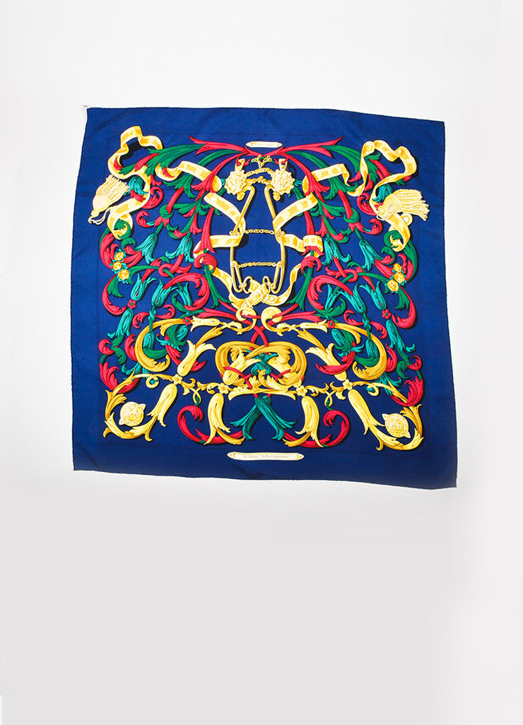 "Hermes Navy Blue and Multicolor Silk Print ""Le Mors ""A La Conetable"" 90cm Scarf Frontview 2"